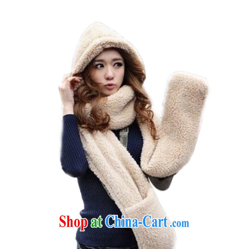 ZUOLANDUO hat gloves scarf in a 3 Piece Extra Long thick lamb plush Christmas hats M 369 beige