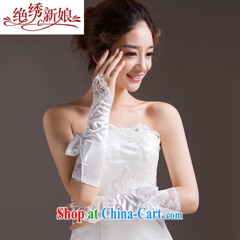 There is embroidery bridal bridal gloves embroidered Crescent white long lace terrace that wedding dress gloves wedding accessories ST - 01 white