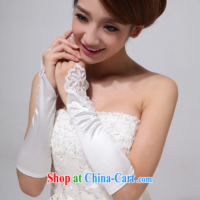Love Life bridal wedding dresses gloves white lace long Satin exposed to wedding accessories ST - 04 white
