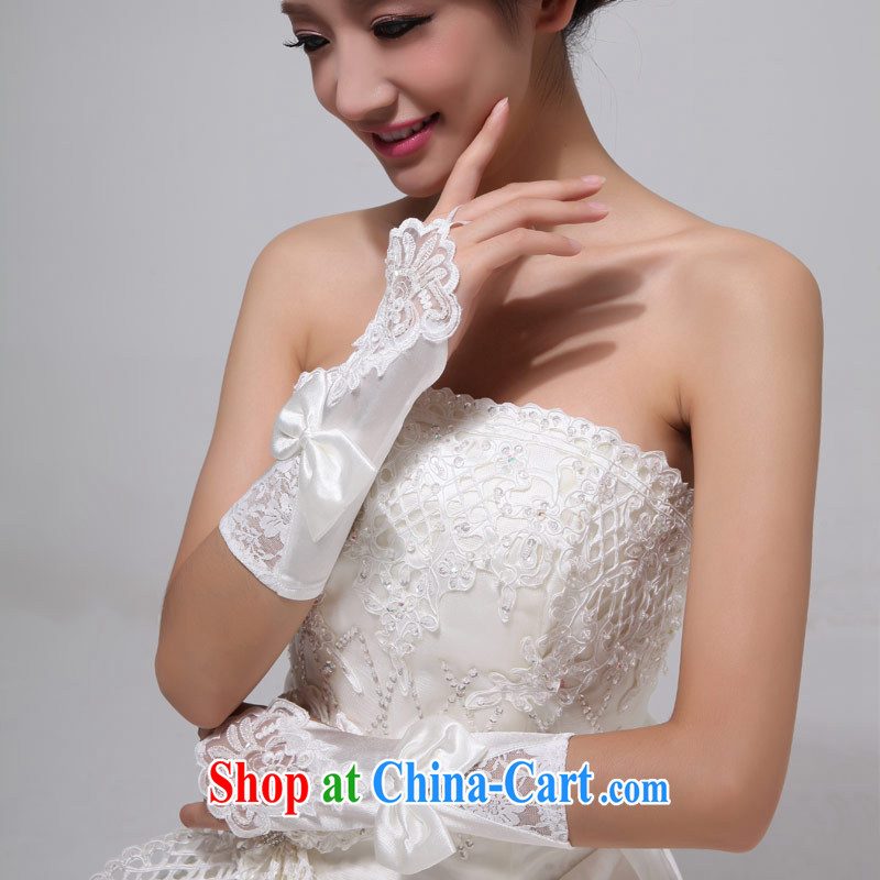 Love Life bridal gloves wedding dresses white lace short, satin-exposed the wedding accessories ST 04 white