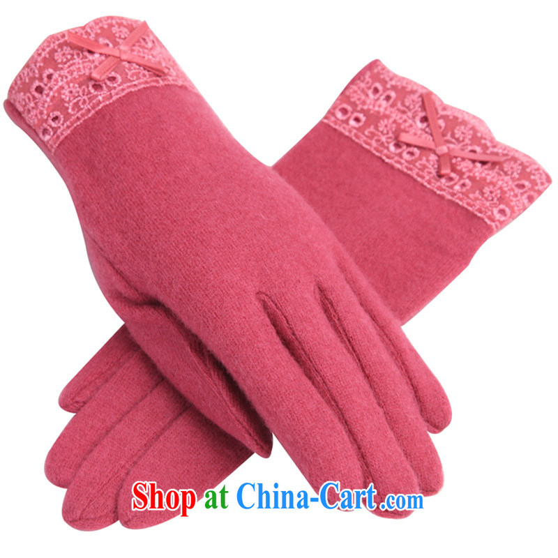 RGLT spring and summer, stylish lace cuffs 75.2 % higher concentrations wool-a Video thin warm gloves farewell micro-cooler - Red