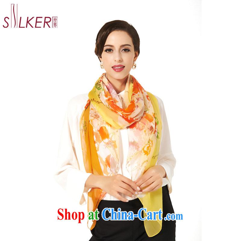 silk industry SIGI spring and summer new sunscreen beach towels, silk, silk silk scarf shawl long beach towel abstract flowers, yellow