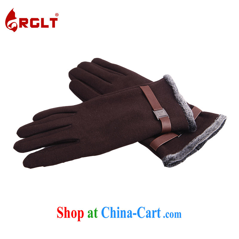 RGLT genuine 2015 spring and summer new men, lint-free cloth thicken the touch screen is a warm gloves wish Dongfeng-coffee-colored