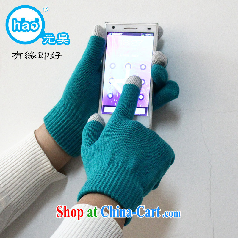 $3 annual touch screen warm gloves Solid Color thick brushed warm winter mandatory, men and women friends factory direct mail packages Lake blue