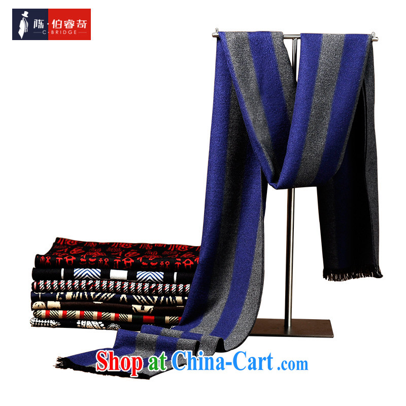 2015 New Men's scarf upscale emulation cashmere warm Korean streaks, men and women couples knitting scarf 0008 blue
