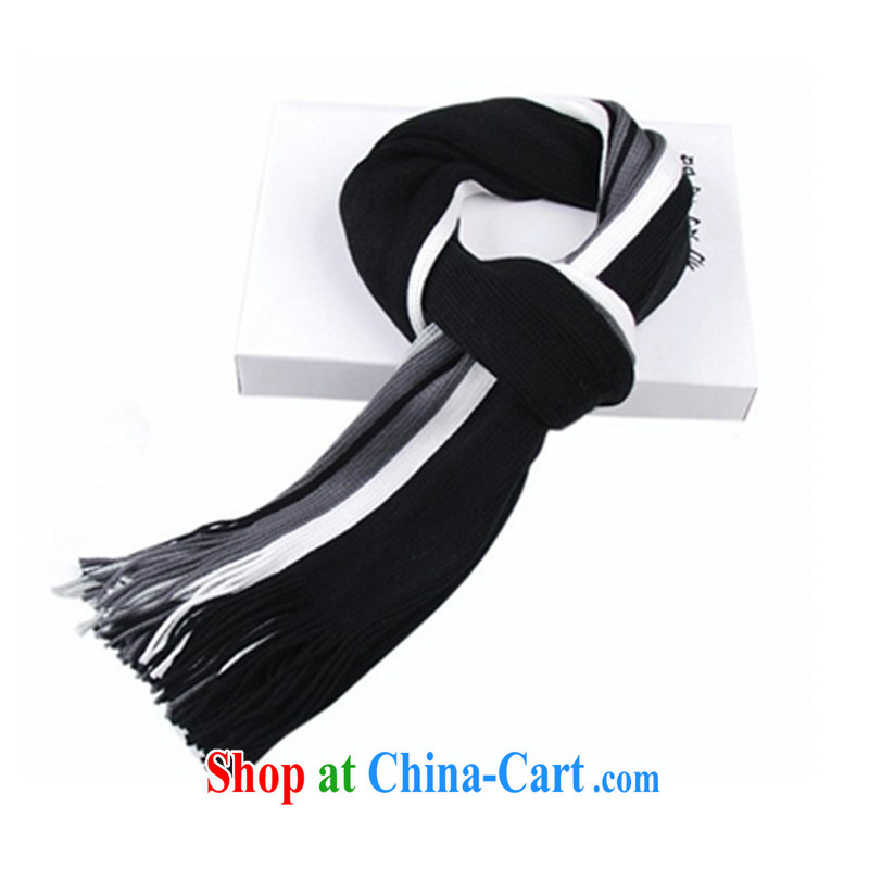 Hung-chun fashion, cotton stripes emulation wool men's scarves autumn and winter new Korean spelling color leisure knitted scarf 220 gram black 200 CM _long_ _ 30 CM