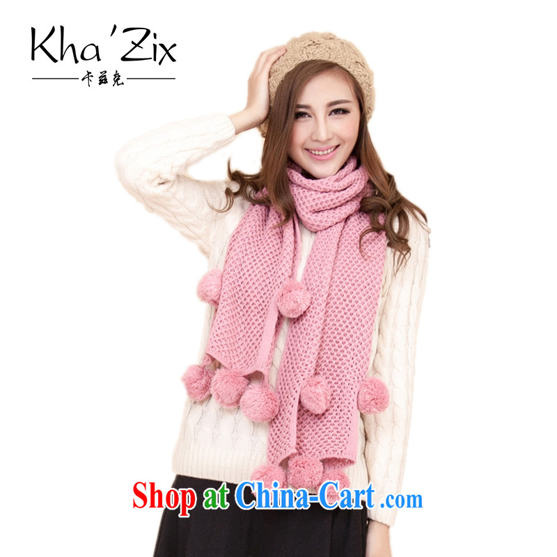 ' Kha zix scarf girl, Korean winter thick scarf extra long Solid Color female lovely chenille throws ball ball KZ 706 red 45 * 175