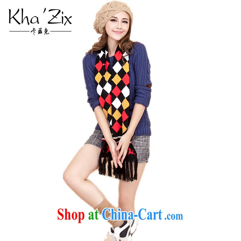 ' Kha zix scarf girl, Korean edition fall/winter new flow, grid-long knitting knitting girls scarf KZ 709 dark coffee 20 * 180