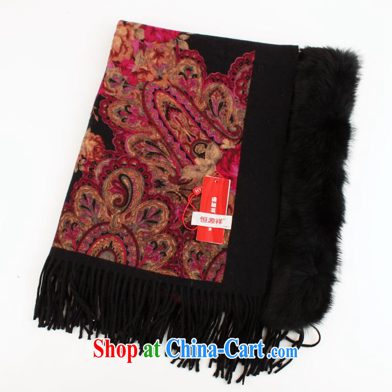 Year-end clearance to Hang Seng Yuen Cheung-pashmina shawl fur shawl Fox wool shawl scarf thick two winter female gift silk scarf 5205 - 3 black other