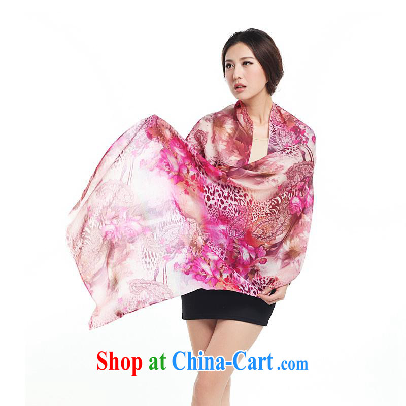 Year-end clearance in summer wool scarves Hang Seng Yuen Cheung-Australian wool, oil painting classic digital painting Air Conditioning shawl J 2265 dark pink bohemian Leopard other