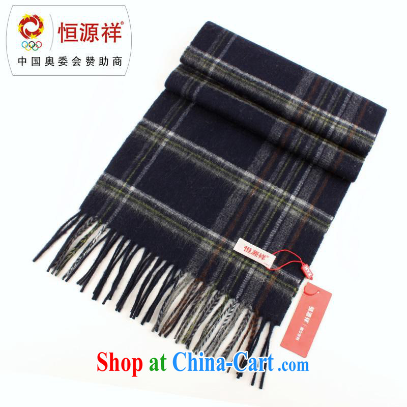 The year-end being thrown off as soon as possible the Hang Seng Yuen Cheung-genuine 2014 autumn and winter men and women generic Korean thick tartan wool scarf 100 ground texture Cashmere scarf men's gift box Navy 169 other