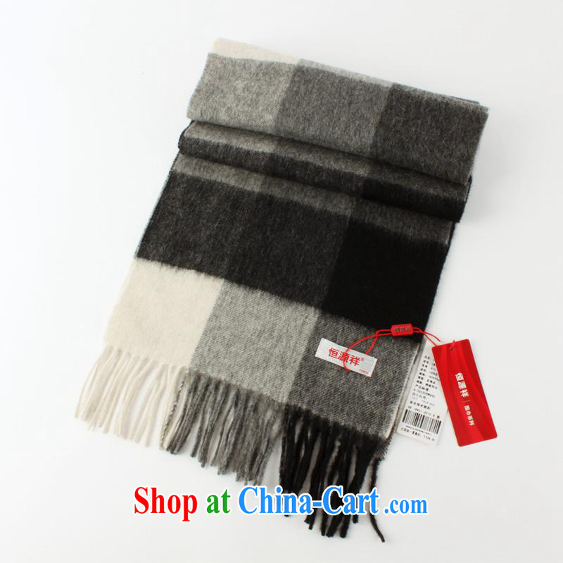 The year-end being thrown off as soon as possible the Hang Seng Yuen Cheung-genuine men scarves 2014 autumn and winter Korean version of thick wool scarf men and business and leisure Cashmere scarf gift box black and gray cells 911 - 1 other