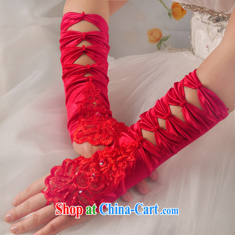 A good service is a bride's wedding embroidered red long gloves lace exposed to Butterfly wedding dresses accessories gloves