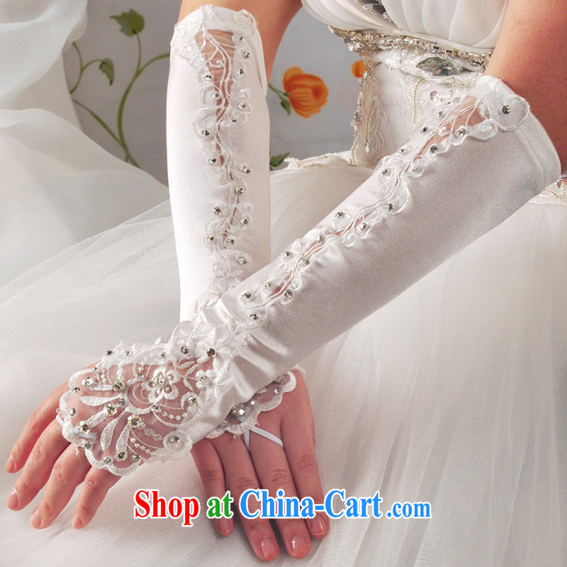 A good service is a bride's wedding white long lace bridal gloves wedding terrace a diamond lace accessories