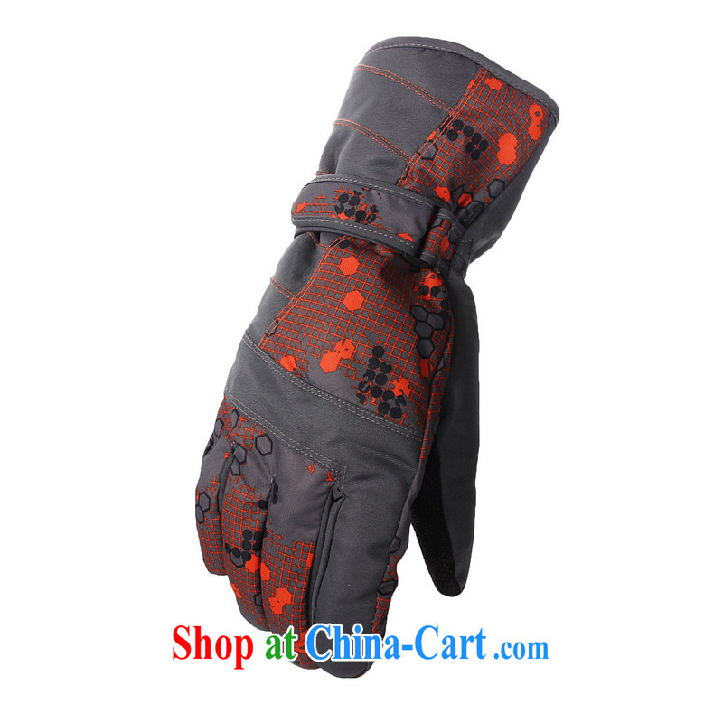 Optimize the new autumn and winter warm cotton ski gloves and thick outdoor cycling cycling windproof and waterproof winter gloves G 1304 gray and orange