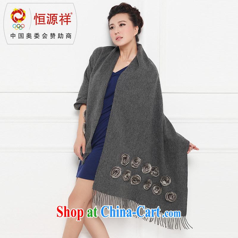 HANG SENG Yuen Cheung-wool Ms. large shawl 22 rose Fox hair shawl scarf with two