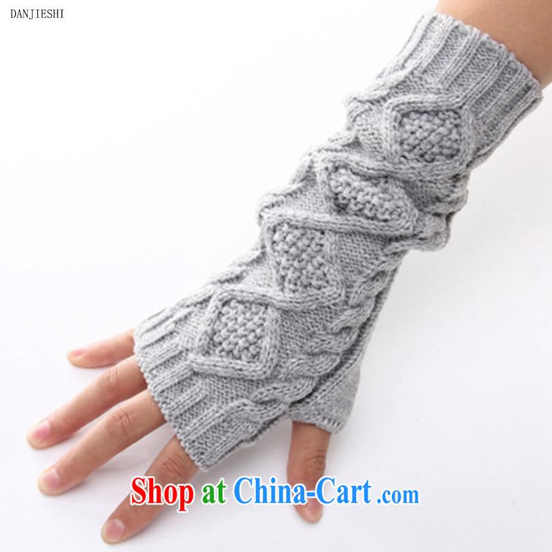 2014 fall and winter new men's knitted half mittens unisex classic diamond gloves stylish arm kit small twist mittens light gray