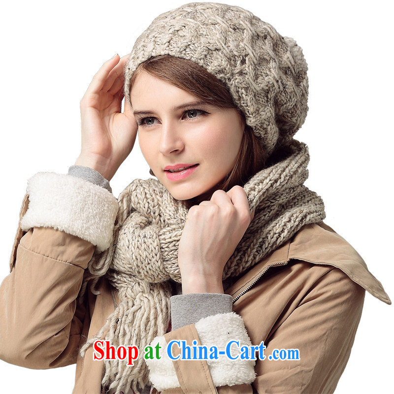 Poetry, rain wool hat scarf two-piece female autumn and winter cap set Korean hand knitting knitting Kit LSYM 1150061 m Gray
