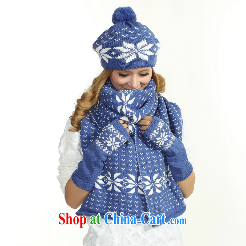 hat scarf gloves 3-Piece female blue