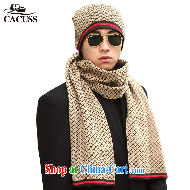 CACUSS new two-piece knitting hat men knitting scarves knitted hat warm winter two-part kit Z brown 0121
