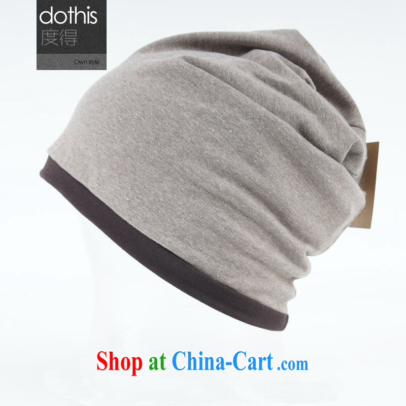 Degrees in autumn with both men and women, Korean version simple solid color 2 to wearing the hijab head hat face cream - Back side brown