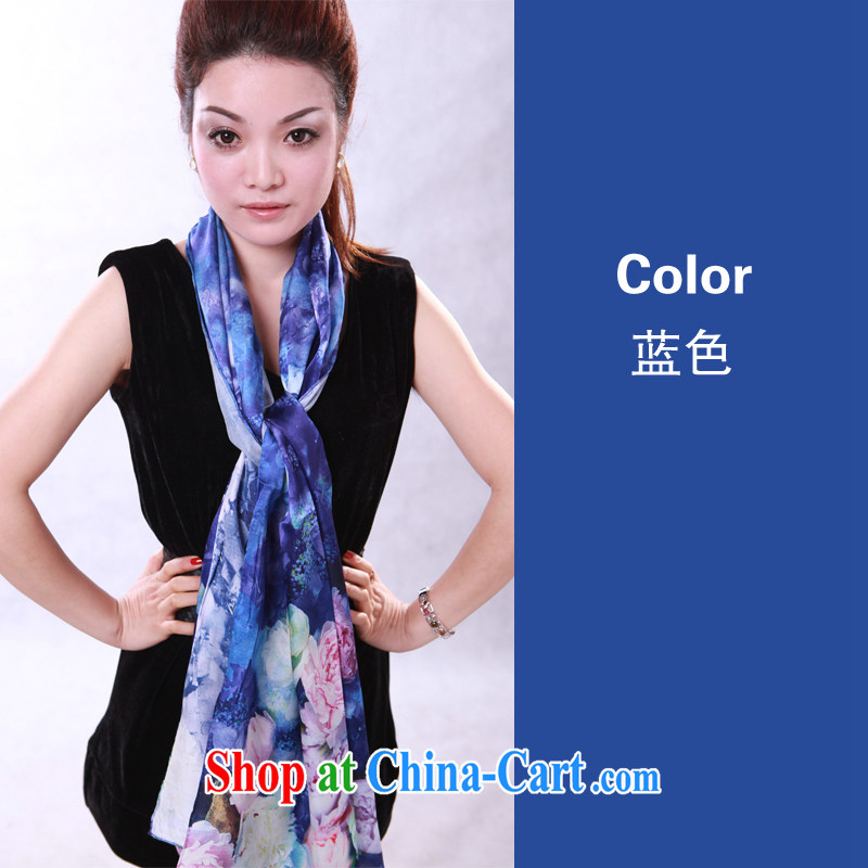 Quality Assurance a new Korean version 100 % sauna silk silk silk scarf digital painting long scarf, shawl blue