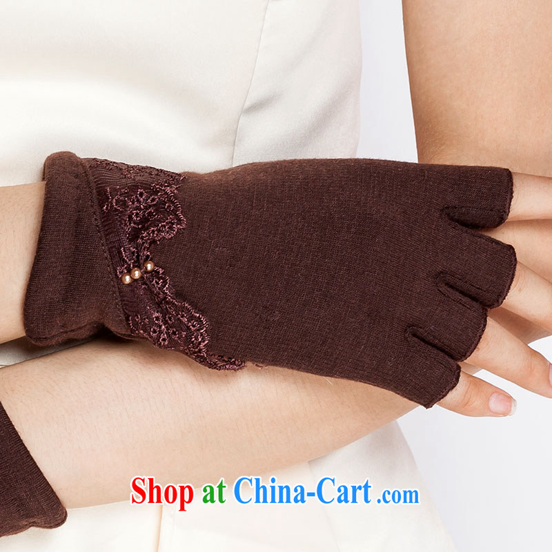 100, the lady short mittens winter girls cotton writing half mittens cute computer warm the lint-free cloth 62,047 dark brown