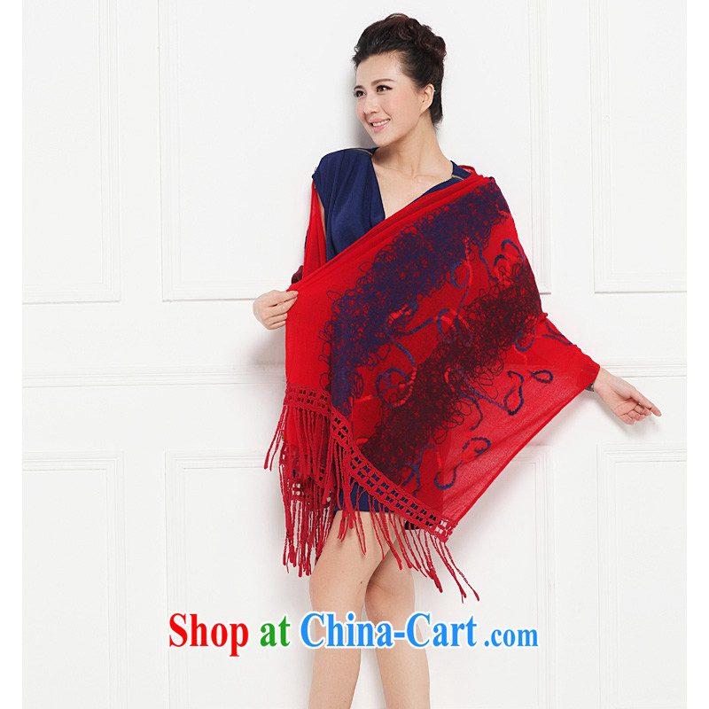 HANG SENG Yuen Cheung-new Pure pashmina shawl scarf with two thick ultra-plush embroidered wool scarves female J 2452 red 185 _ 65
