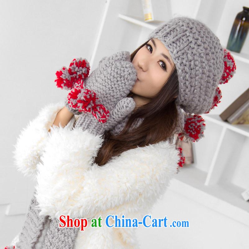 Zoran Djindjic, flower fall and winter Korean knitting warm 3-Piece scarf gloves hat knitting Kit WJ 042 gray