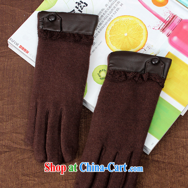 100, the soft wool double-thick gloves girls winter day cashmere the lint-free gloves warm graphics thin refer 33,680 dark brown