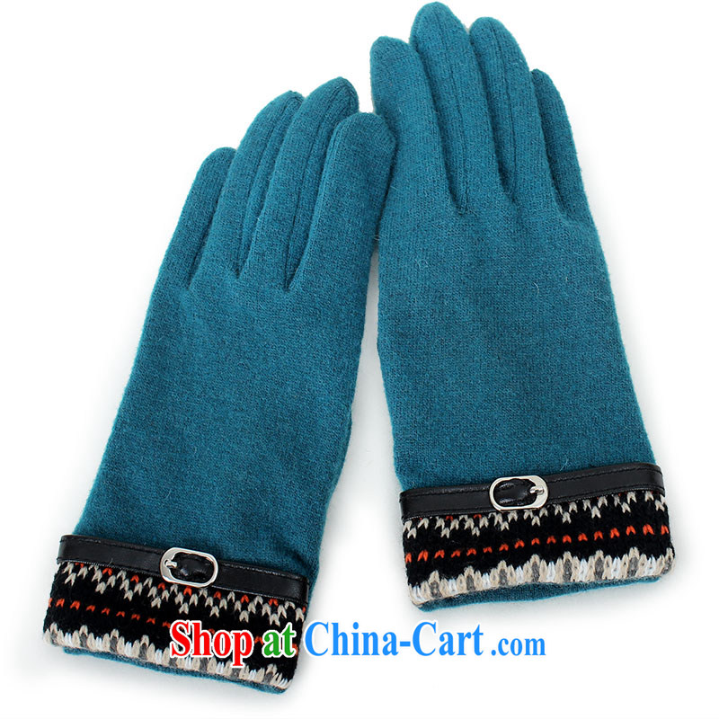 100 OSCE, ladies fleece gloves Girls fall and winter season in the cashmere gloves short warm driving Korean thin Taxi A 5017 blue