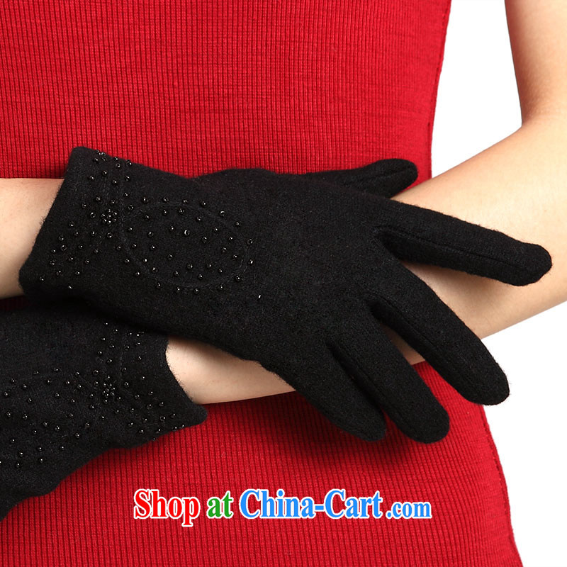 100, the Special black wool gloves female autumn and winter warm wool cashmere gloves short warm thin D 08 - 1 black