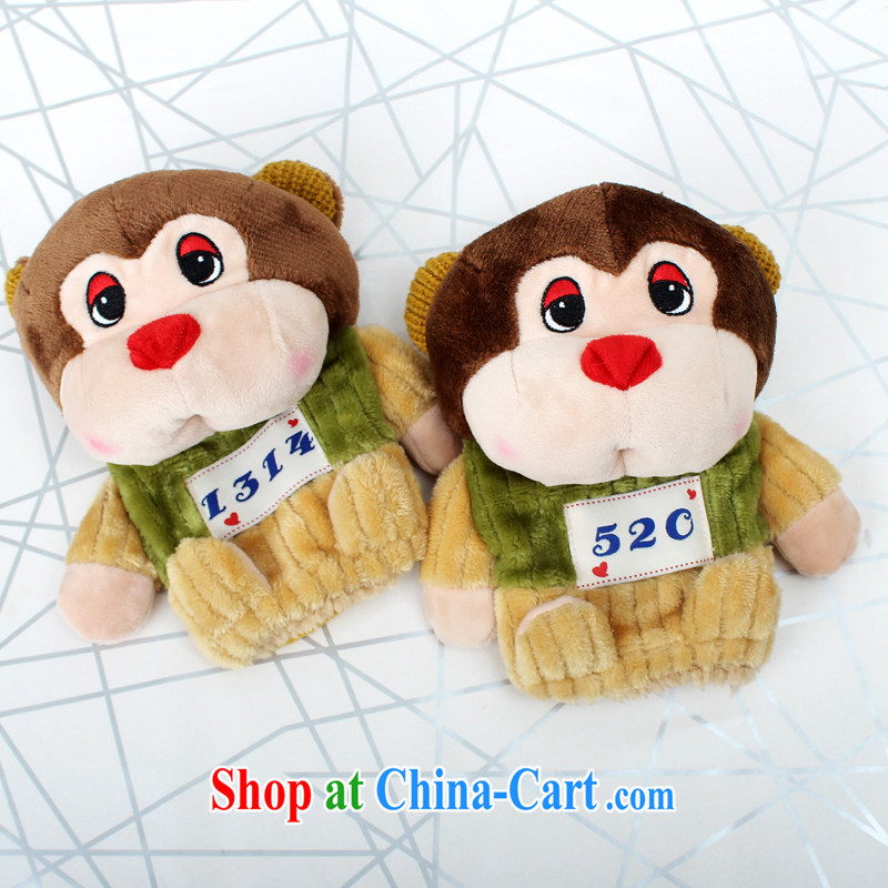 100, the monkeys half a plush cute gloves Womens winter warm Korean cartoon full refers to thick lint-free quality A 6605 half a dark brown
