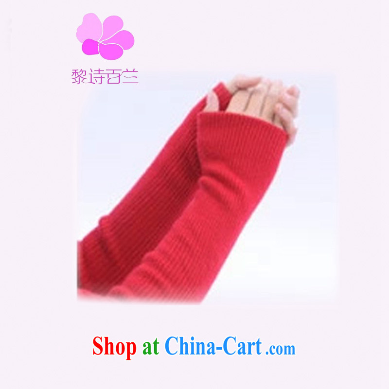 Lai 100 poems, cashmere 2014 new Korean fashion cashmere hand half the gloves short unisex couples gloves Long double gloves double red