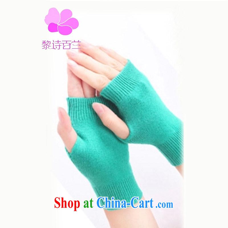 Lai 100 poems, cashmere 2014 new Korean fashion cashmere hand half the gloves short unisex couples short gloves - -