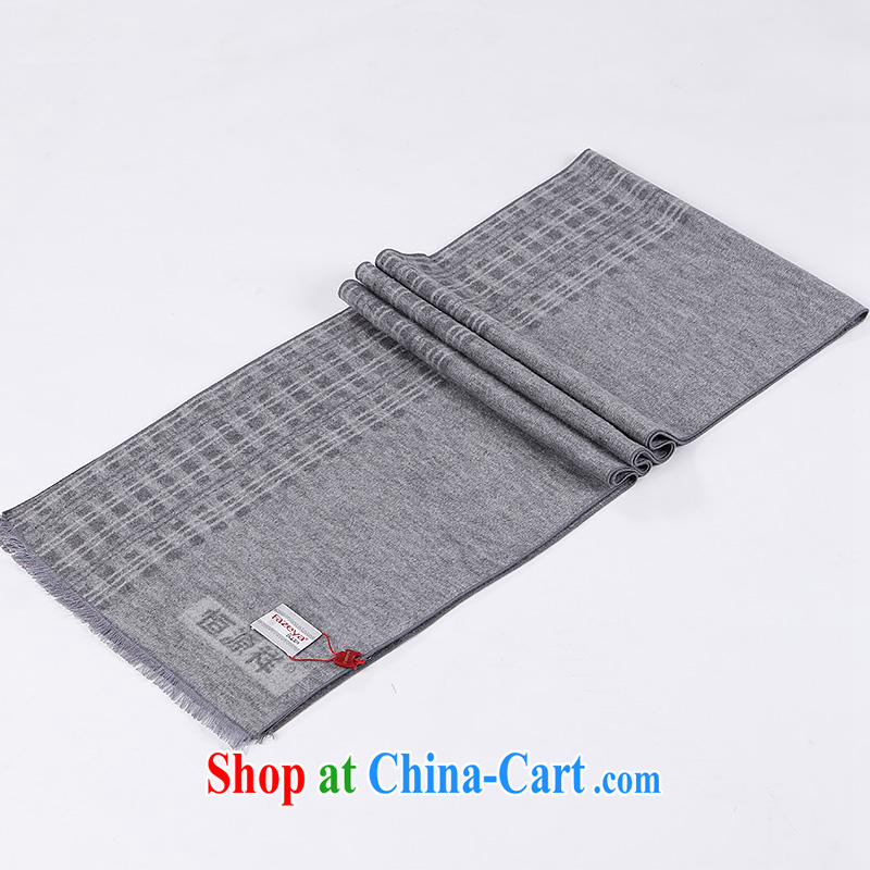 Year-end clearance in Hang Seng Yuen Cheung-genuine men's scarves, older men and long scarf plain sauna silk classic tartan small shawl scarf male, gray other