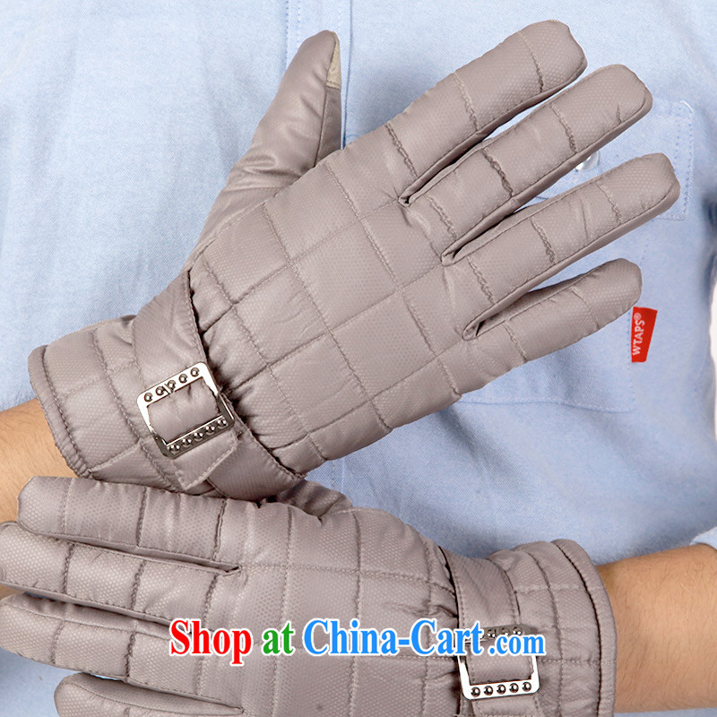 100, the outdoor thicken the touch screen glove men's winter riding wind cotton lint-free cloth with warm winter gloves waterproof 1406 grid gray