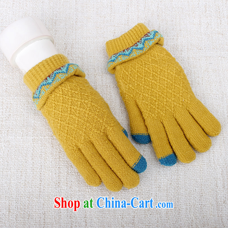 100, the micro-thick knitting touch gloves girls winter knitting touch screen glove the lint-free cloth warm students New A 5018 yellow