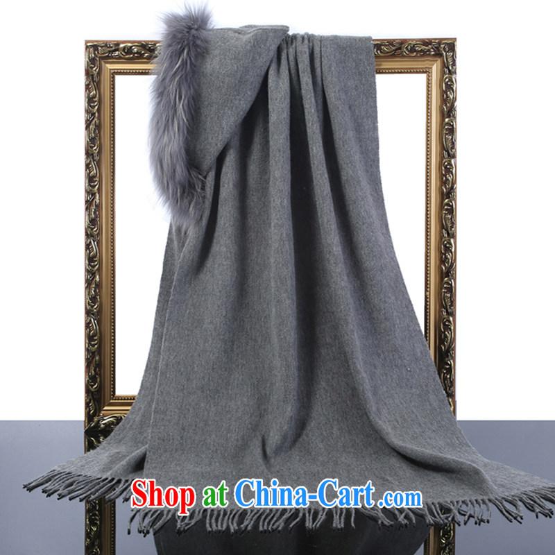 HANG SENG Yuen Cheung- 100_ pure wool lambs wool campaign sub-hair color shawl gift gray