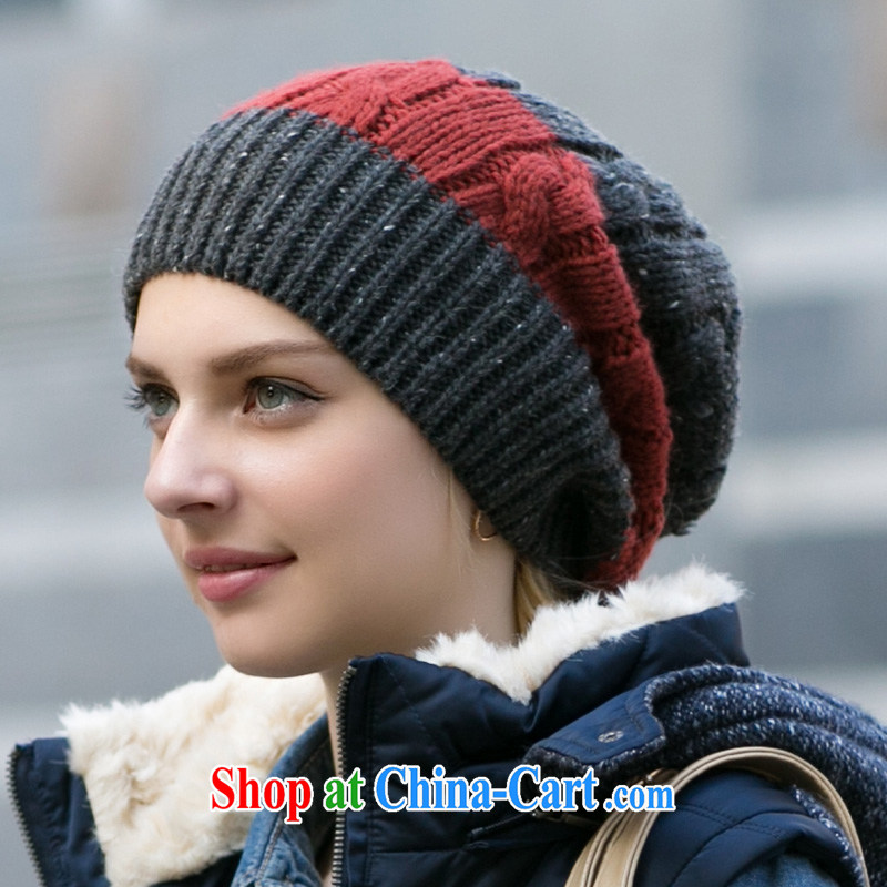 Korean twist knitting Kit head hat autumn and winter warm ribbed knitting header cap female couples cap Gray/red-orange adjustable