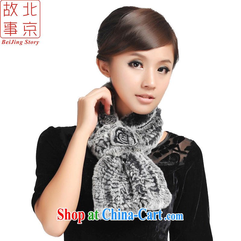 Beijing story fur scarf modern beauty, rabbit hair scarf autumn and winter, warm rabbit hair scarf 158,091 157,037 black and gray