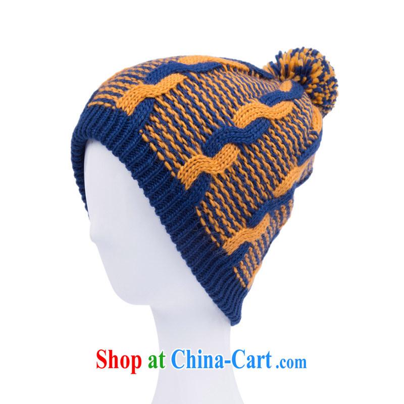 Korean male and knitted cap autumn winter leisure cap knocked color beanies men's sixth ball cap couples Kang Wong/hidden cyan adjustable