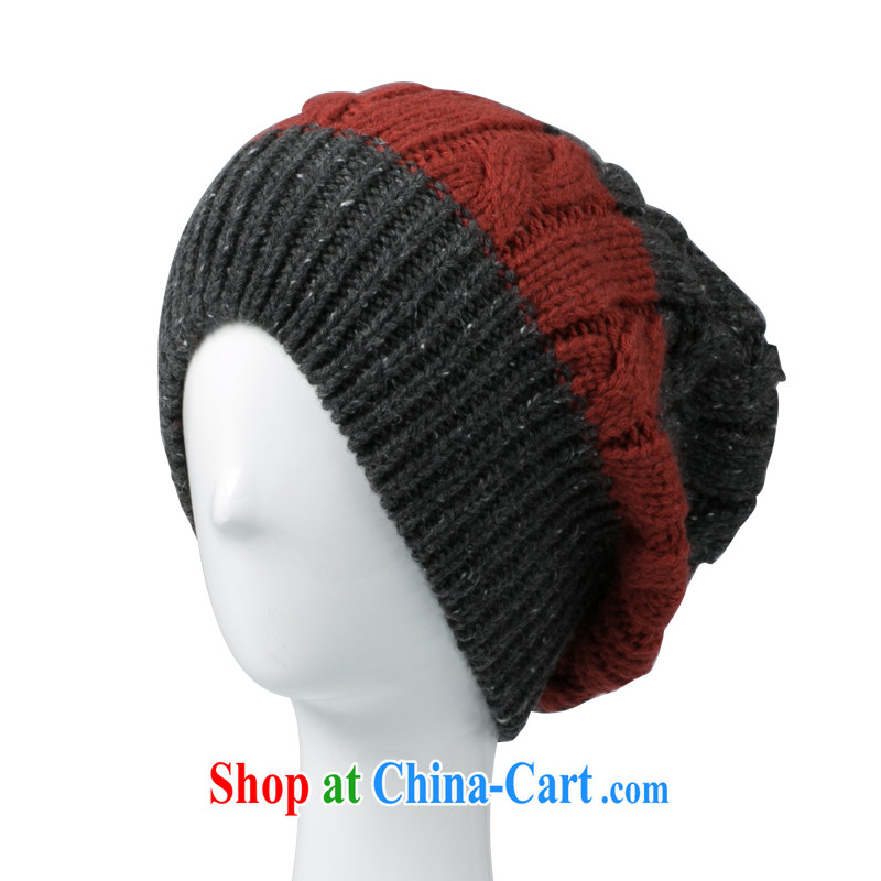 Korean male and Cap head hat autumn winter warm beanies men couples caps beanies Gray/red-orange adjustable