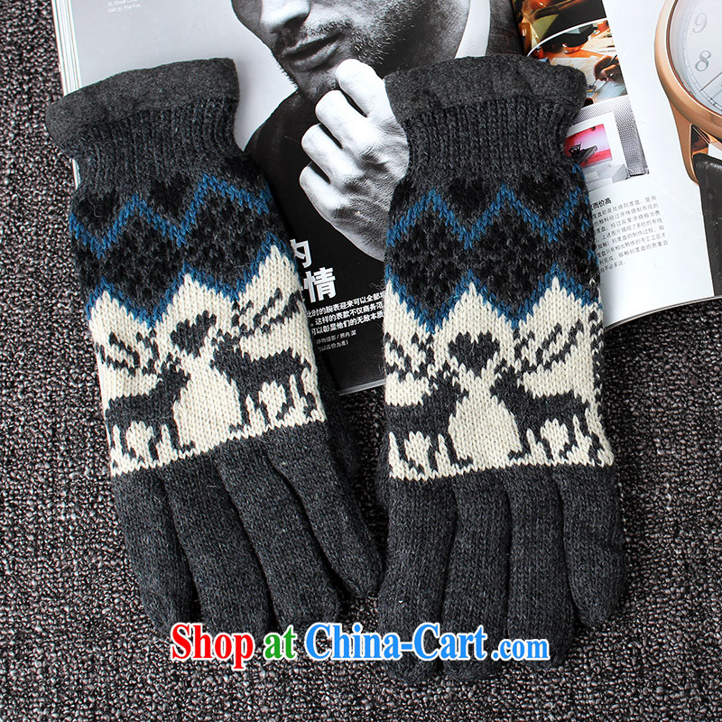 100, Euro 5 thicken the knitted gloves and warm winter knitting gloves and lint-free cloth in boys, riding B 5391 gray