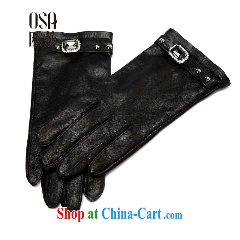 OSA Elizabeth's Euro 2014 Ms. winter new products with exquisite diamond stylish warm gloves AP 402,068 black