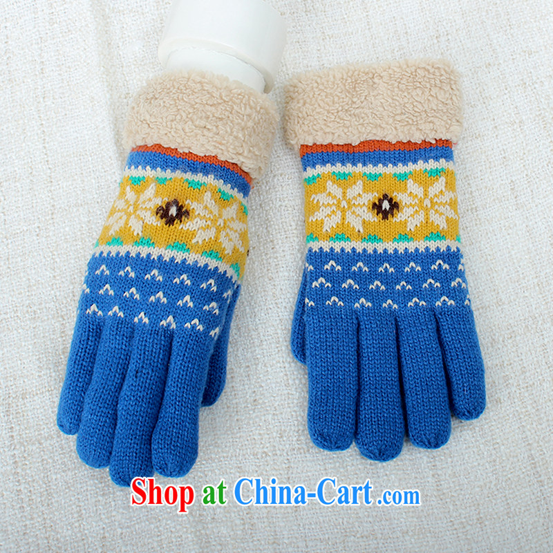 100, the touch screen 5 knitting mittens girls winter day thick knitting cute Korean touch students warm A 5076 blue