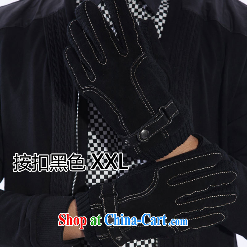 100, the minimalist blanched men's glove leather and lint-free cloth, thick Korean winter days warm riding winter cotton 5662 snap black XXL