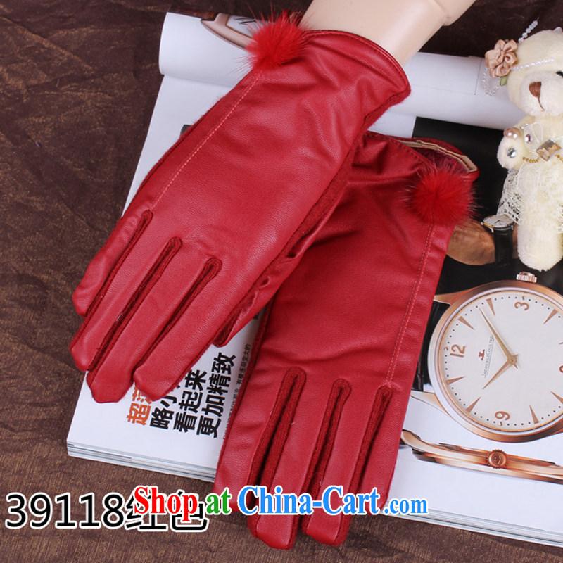 100, European boutique rabbit hair ball, cashmere gloves wool thick, winter days warm Korean emulation sheepskin 39,118 red