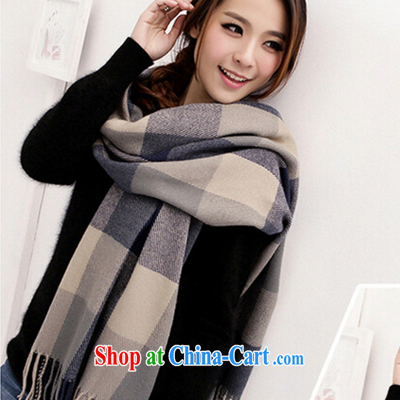New scarf autumn and winter grade spelling color grid shawl Korean factory direct blue gray grid 200 CM