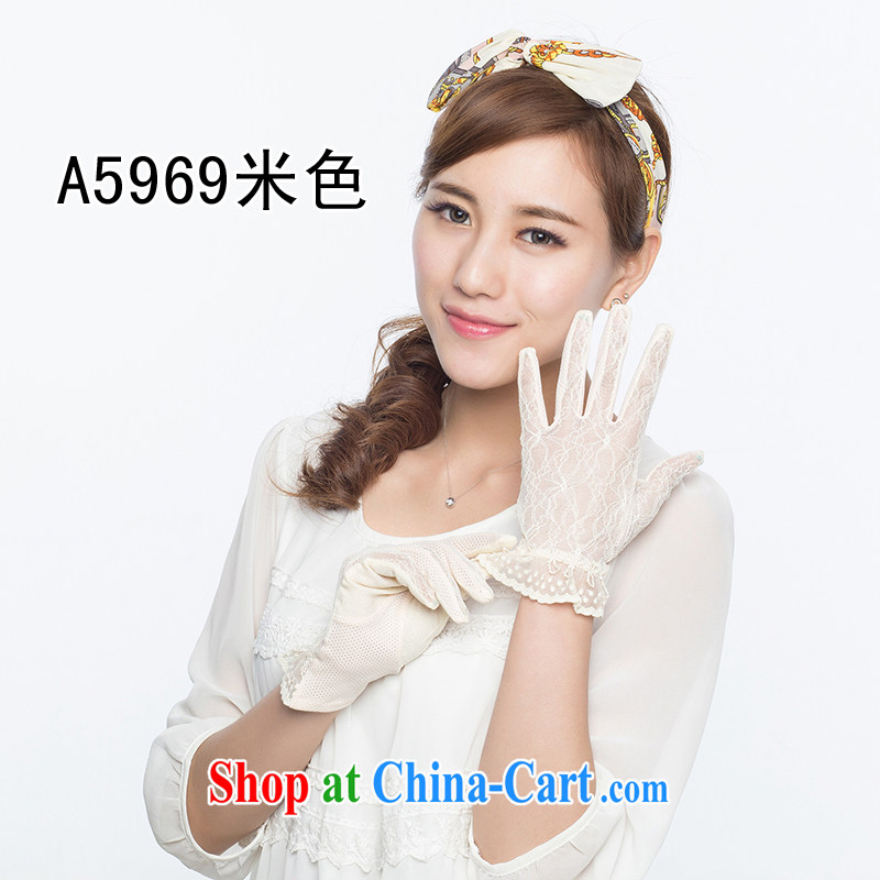 100 OSCE, Ms. lace sunscreen gloves UV gloves summer quarter sun visor car ride ultra-thin short A 5967 beige